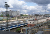 | Москва. Вид на Останкинскую башню с крыши одного из зданий Ленинградского вокзала.